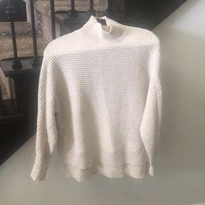 Mock turtleneck high low sweater